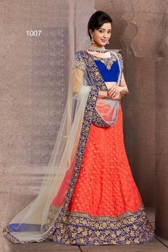 Blue & Orange Fancy Net Lehenga Choli