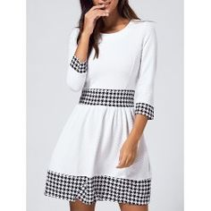 SHARE & Get it FREE | 3/4 Sleeve Houndstooth Jewel Neck DressFor Fashion Lovers only:80,000+ Items • FREE SHIPPING Join Twinkledeals: Get YOUR $50 NOW!