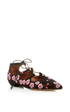 Black & Pink Embroidered Linen Mgnolia Blossom Flat - Tabitha Simmons Spring Summer 2016 - Preorder now on Moda Operandi