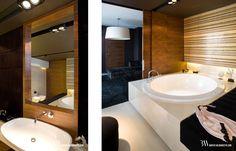 Projekt wnętrza luksusowego pokoju kąpielowego z okrągłą wanną Hoesh. www.bartekwlodarczyk.com