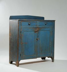 blue painted 19th century jelly cupboard