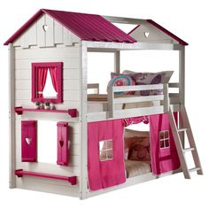 Bunk Beds For Girls Room, Low Bunk Beds, Big Girl Rooms, Kid Beds, Bed Rooms, Bunk Bed Fort, Bed With Slide, Murphy Bed Plans, Decorate Your Room