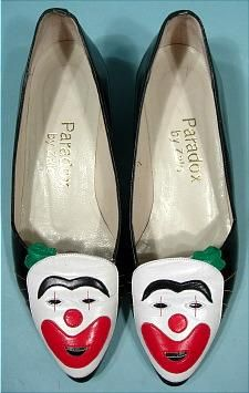 "980's Paradox by Zalo, Made in Spain Clown Face Shoes! ""Coulrophobia"" a real psychological syndrome meaning ""irrational, abnormal or exaggerated fear of clowns""!),"