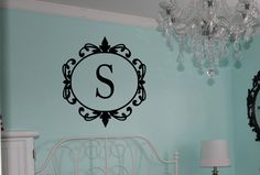 Initial Vinyl Lettering Monogram Wall Decal by OZAVinylGraphics on Etsy