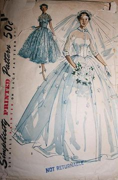 1950's vintage Simplicity pattern no. 4697 -Similar to the style of my mom's wedding gown.