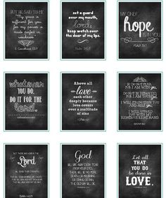 Free Chalkboard Verses Printables. THESE PRINT OUT GREAT ON CARD STOCK.