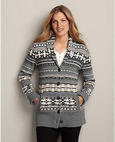 Pattern Shawl-Collar Cardigan Sweater   Eddie Bauer