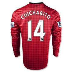 6d37b8938e2 12 13 Manchester United  14 chicharito Long Sleeve Home Soccer Jerseys  Manchester United