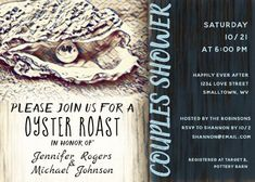 """Oyster Roast Couples Shower Invitation. Size: 5"""" x 7"""" Make custom invitations and announcements for every special occasion! Choose from twelve unique paper types, two printing options and six shape options to design a card that's perfect for you. Size: 5"""" x 7"""" (portrait) or 7"""" x 5"""" (landscape) Standard white envelope included Add photos and text to both sides of this flat card at no extra charge Use the """"Customize it!"""" CLICK IMAGE FOR MORE DETAILS. Couples Wedding Shower Invitations, Custom Invitations, I Do Bbq, Couple Shower, Happily Ever After, Envelope Liners, Oysters, Open House, Smudging"""