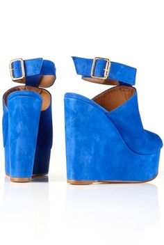 WALBERG Blue Suede Ankle Strap Platform Wedges - Heels - Shoes - Topshop USA - StyleSays