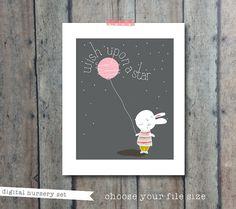 Nursery art  wish upon a star print  rabbit bunny by PrintSmitten, $13.00