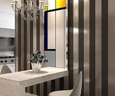 10M Modern Fashion Simple Style Black/Silver Striped Nonwoven Wallpaper Rolls