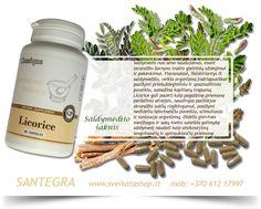 Licorice (100) - natūralus Santegra ® kompanijos produktas, į kurio sudėtį įeina saldymedžio šaknis (Glycyrrhiza glabra), pasižyminti unikaliomis savybėmis. Licorice (100) galima naudoti kaip pagalbinę priemonę peršalimo atvejais, produktas teigiamai veikia skrandžio-žarnyno traktą, naudingas padidėjus skrandžio sulčių rūgštingumui, pasižymi nedideliu laisvinančiu poveikiu, gali padėti stimuliuoti ir tonizuoti organizmą.