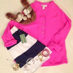 Love the shirt with the gold sandals.  Love the idea of putting it with navy and white stripes.