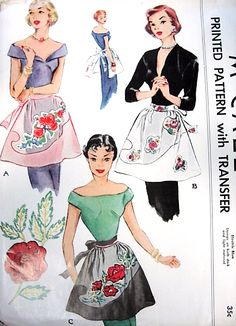 1950s LOVELY Hostess Party Organdy Apron Pattern McCALL 1594 Rose Applique Pattern Vintage Sewing Pattern