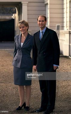 Prince Edward And His Fiancee Sophie Rhys-jones On The Day Of Their Engagement, Posing For Pictures At St. James's Palace In London.