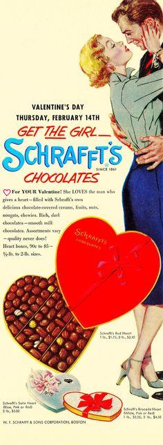 Get the girl Schrafft's Chocolates for Valentine's Day! #1950s #ads #vintage