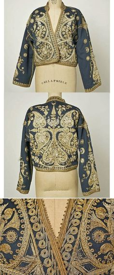 Woman's 'cepken' (long-sleeved jacket). Late-Ottoman, circa 1900. Combing wool, cotton, metal thread. Length at CB: 52 cm.