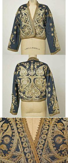 Woman's 'cepken' (long-sleeved jacket).  Late-Ottoman, circa 1900.  Combing wool, cotton, metal thread.  Length at CB: 52 cm.