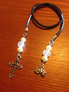 LOVELY handmade beaded bookmark/ book thong with leather cord! Cross by CraftyLadyDez on Etsy