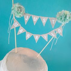 Mint wedding Cake banner Linen Mint cake by Hartranftdesign