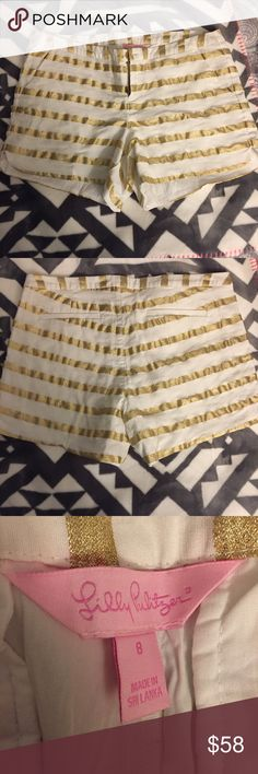 EUC Adie shorts Excellent used condition Lilly Pulitzer gold stripe Adie shorts. I'm not the original owner, but they look to be in excellent condition. Let me know if you want to see any other pictures Lilly Pulitzer Shorts