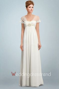Cheap Angelic Chiffon Wedding Gown Holding Beaded Motif and Romantic Tulle Watteau Train - the Best Wedding Dresses Wholesale and Retail Online Store Pregnant Wedding Dress, Cute Wedding Dress, Beautiful Wedding Gowns, Wedding Dress Trends, Maternity Wedding, Maternity Dresses, Bridal Dresses, Prom Dresses, Bridal Lace