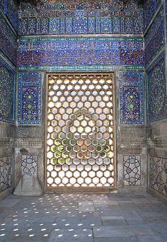 Honeycomb window at the Registan, Samarkand.