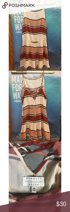 Kendall and Kylie Striped romper SIZE XS Super cute! Hardly worn but previously loved romper from Kendall and Kylie Jenner Kendall & Kylie Other