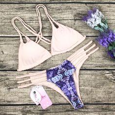 8DESS Sexy Crochet Strappy Print Bikini Set Swimsuit Swimwear