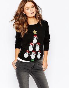 Image 1 - Fashion Union - Pull de Noël motif pingouins orné de sequins