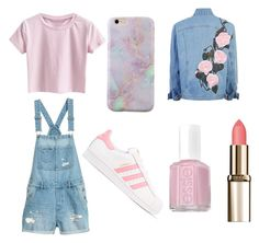 """""""pink"""" by pasye ❤ liked on Polyvore featuring adidas Originals and Essie"""