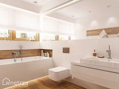 Znalezione obrazy dla zapytania białe łazienki z drewnem