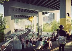 A new urban park in Ontario will take sheltered but unused space below a raised roadway and turn it into a place for walking, cycling and outdoor performances. A project of urban designer Ken Green…