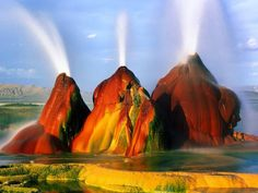 Fly Geyser is a small geothermal geyser that is located approximately 20 miles km) north of Gerlach, in Washoe County, Nevada in the Black Rock Desert. The Geyser is located in Hualapai Flat le… Black Rock Desert Nevada, Nevada Desert, Nevada Usa, Reno Nevada, Fly Geyser Nevada, Parc National, Natural Phenomena, Natural Wonders, Places To See