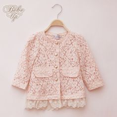 Kids Coats & Jackets New 2014 Spring Autumn Toddler Baby Girls Lace Coats Princess Causal Fashion Children Outerwear 2-6 Years $16.30