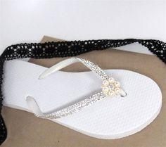 266550648d767 Crystal Swarovski Rhinestone Havaianas Flip Flops with Pearl and Crystal  Detailing on Etsy