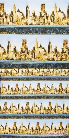 """striped 11"""""""" cotton fabric packed with skyscrapers and city buildings in beige and grey with metallic gold embellishments with navy textures, very high quality fabric, typical Timeless Treasures great quality #Cotton #Buildings #Houses #Metallic #USAFabrics"""