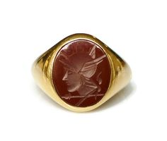 Mens Ring, 10K gold, Carnelian, Roman Soldier, Mercury Intaglio, Church and Company, Vintage Jewelry by zephyrvintage on Etsy