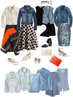 Ensemble: Dressy Skirts & Denim- great ideas!