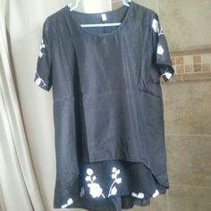 Black flowers blouses Blouse Tops