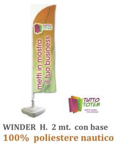 Bandiera a vela Mod. Winder 100% poliestere nautico struttura alluminio e base in plastica riempibile 20 Kg. Misure: cm 85 x 200. FAI SVENTOLARE LA TUA IMMAGINE!