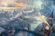 Tinker Bell and Peter Pan Fly to Neverland by Thomas Kinkade