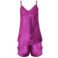 Women Sexy Satin Spaghetti Strap Sleepwear Deep V Lace Bowknot Shorts Nightwear sets