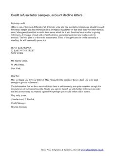 Credit Decline Letter - declination letter, stating the refinance was rejected due to my credit.