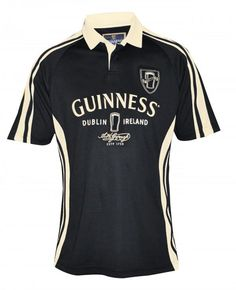 Arthur Guinness Signature Performance Rugby Jersey: Made By Guinness. This t-shirt has a large print of the Guinness beer logo on the front. This short-sleeved men's t-shirt has a regular fit. Irish Rugby Shirt, Guinness Gifts, Rugby Jersey Design, Short Sleeve Polo Shirts, Dublin, Sleeves, Mens Tops, Pints, Harp