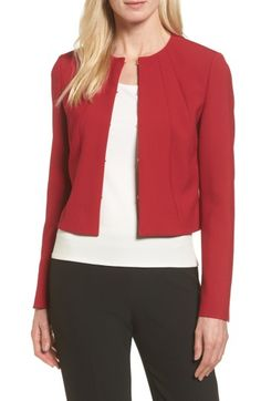 Free shipping and returns on BOSS Jenisa Ponte Knit Crop Jacket at Nordstrom.com. Bring a splash of rich red to your closet with this artfully tailored jacket of supple ponte knit in a waist-skimming cut that's ideal for modern layering.