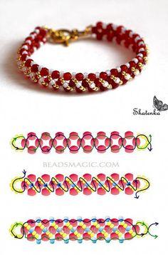 DIY BEADED JEWELRY IDEAS #BeadedJewelry Beaded Bracelets Tutorial, Beaded Bracelet Patterns, Handmade Bracelets, Beaded Earrings, Jewelry Bracelets, Embroidery Bracelets, Bracelet Designs, Silver Bracelets, Seed Bead Jewelry