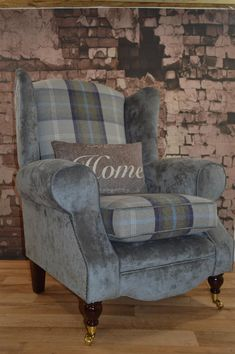 Scatter Cushions, Seat Cushions, Tartan Chair, Queen Anne Chair, Blue Accent Chairs, Chair Upholstery, Upholstered Chairs, Wingback Armchair, Sofas