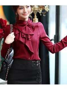 Sweet ruffles stand collar elegant bordeaux shirt Color Bordeaux Size S Ruffle Collar Blouse, Chiffon Shirt, Red Blouses, Blouses For Women, Bordeaux, Online Blouse Shopping, Frilly Shirt, Sammy Dress, Modest Dresses